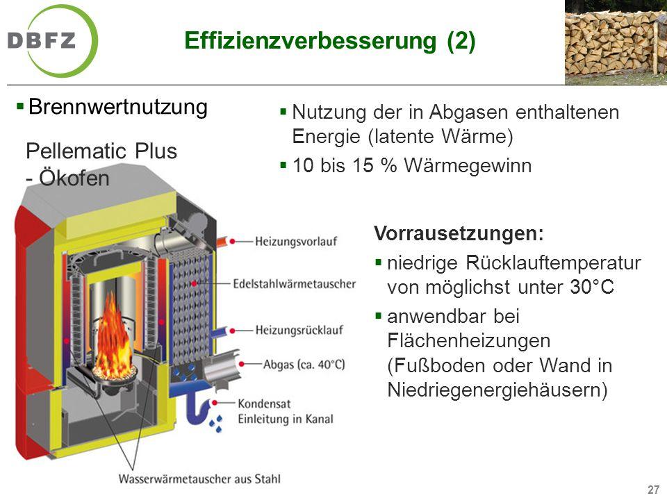 27 Effizienzverbesserung (2) Brennwertnutzung Nutzung der in Abgasen enthaltenen Energie (latente Wärme) 10 bis 15 % Wärmegewinn Pellematic Plus - Öko