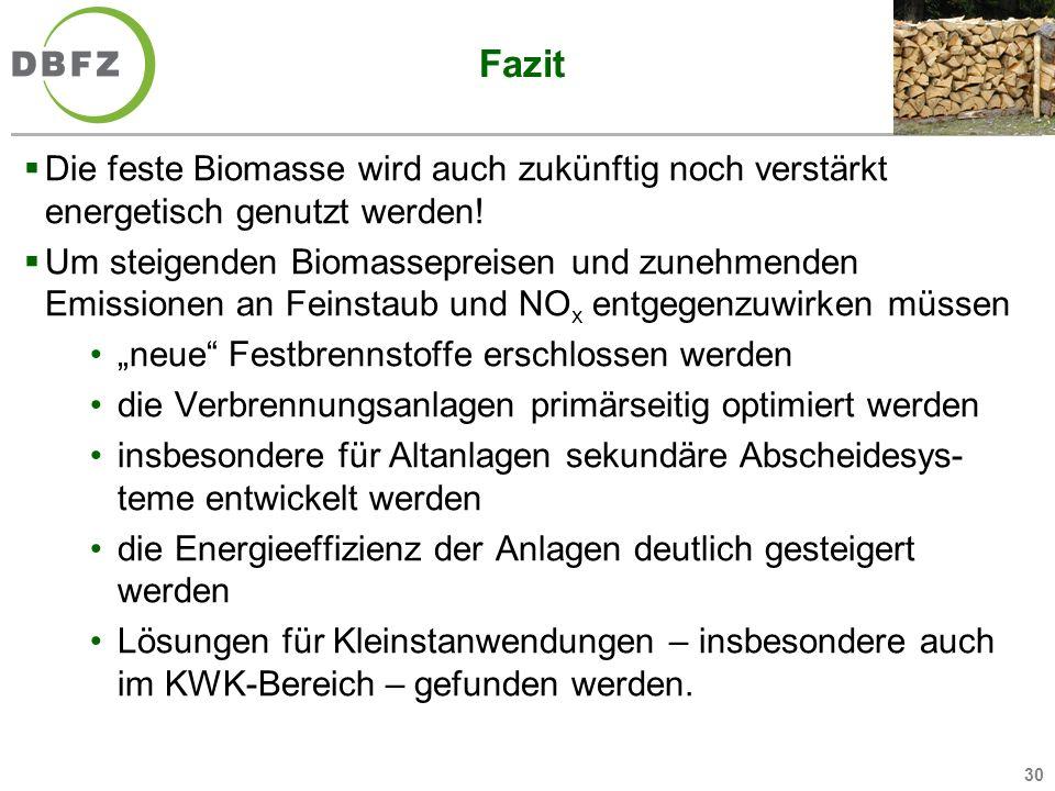 30 Fazit Die feste Biomasse wird auch zukünftig noch verstärkt energetisch genutzt werden! Um steigenden Biomassepreisen und zunehmenden Emissionen an