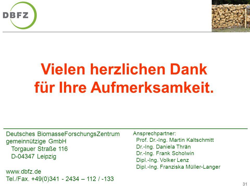 31 Deutsches BiomasseForschungsZentrum gemeinnützige GmbH Torgauer Straße 116 D-04347 Leipzig www.dbfz.de Tel./Fax. +49(0)341 - 2434 – 112 / -133 Ansp