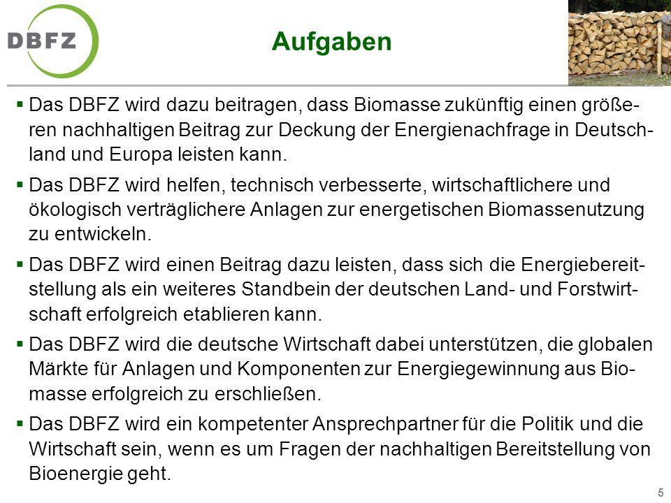 5 Aufgaben Das DBFZ wird dazu beitragen, dass Biomasse zukünftig einen größe- ren nachhaltigen Beitrag zur Deckung der Energienachfrage in Deutsch- la