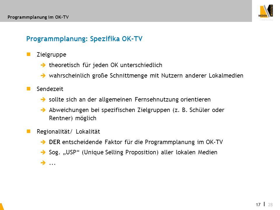 Programmplanung im OK-TV 17 I 28 Programmplanung: Spezifika OK-TV Zielgruppe theoretisch für jeden OK unterschiedlich wahrscheinlich große Schnittmeng