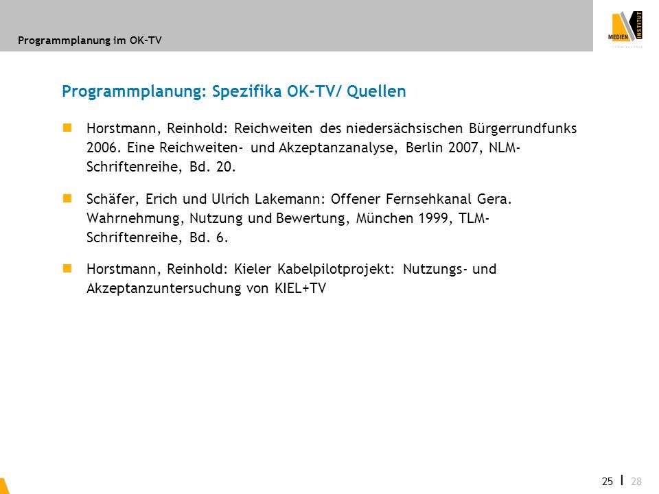 Programmplanung im OK-TV 25 I 28 Programmplanung: Spezifika OK-TV/ Quellen Horstmann, Reinhold: Reichweiten des niedersächsischen Bürgerrundfunks 2006