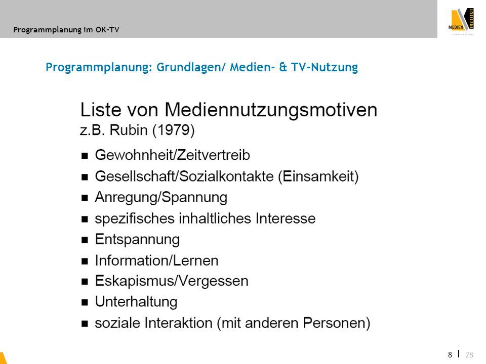 Programmplanung im OK-TV 8 I 28 Programmplanung: Grundlagen/ Medien- & TV-Nutzung