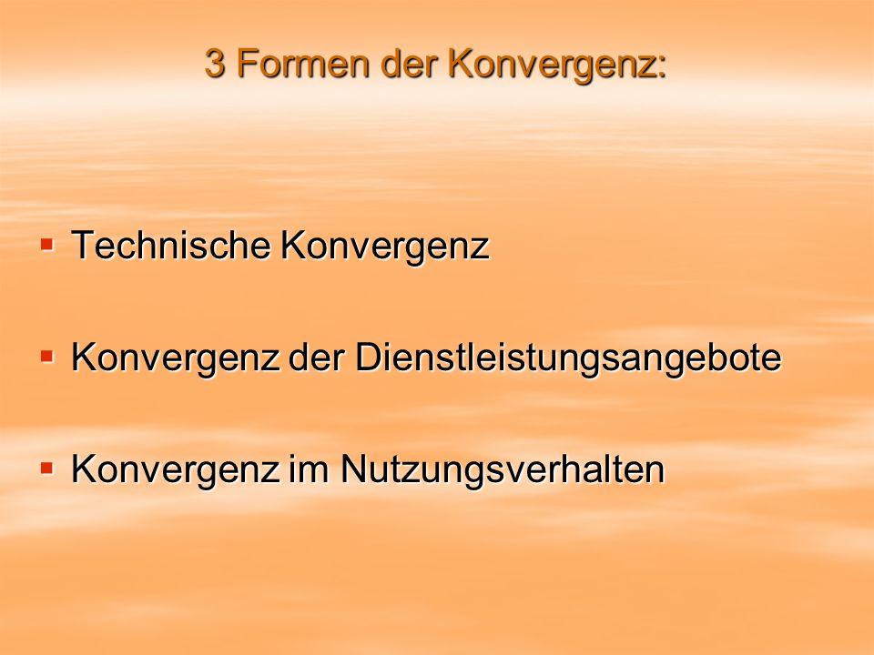 3 Formen der Konvergenz: Technische Konvergenz Technische Konvergenz Konvergenz der Dienstleistungsangebote Konvergenz der Dienstleistungsangebote Konvergenz im Nutzungsverhalten Konvergenz im Nutzungsverhalten