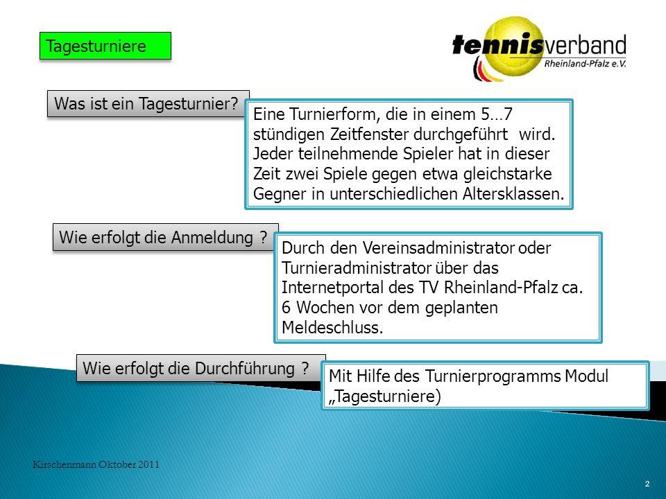 Wie erfolgt die Durchführung ? Mit Hilfe des Turnierprogramms Modul Tagesturniere) 2 Kirschenmann Oktober 2011 Tagesturniere Was ist ein Tagesturnier?