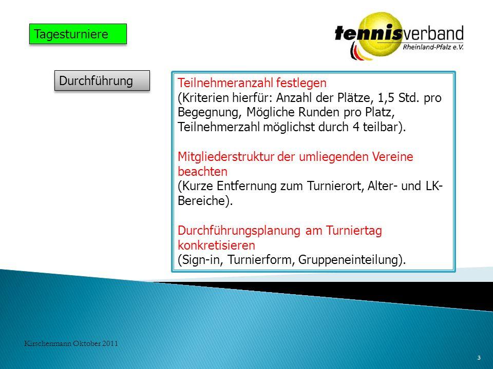 3 Kirschenmann Oktober 2011 Tagesturniere Durchführung Teilnehmeranzahl festlegen (Kriterien hierfür: Anzahl der Plätze, 1,5 Std. pro Begegnung, Mögli