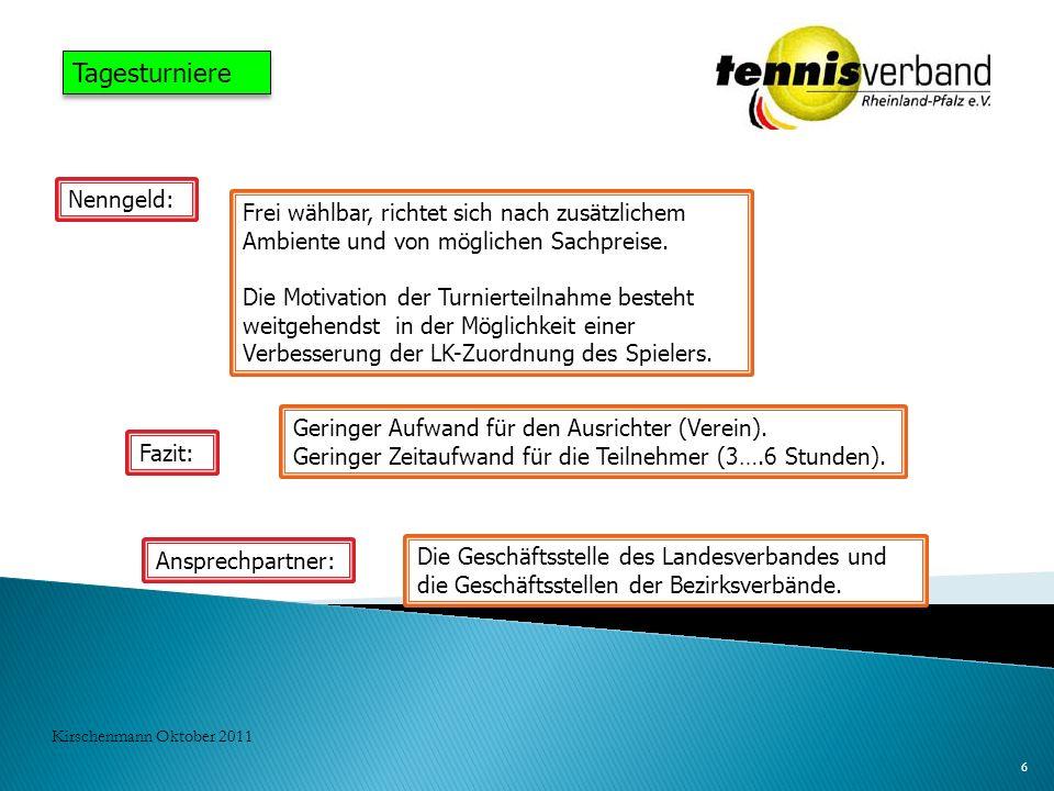 6 Kirschenmann Oktober 2011 Tagesturniere Nenngeld: Frei wählbar, richtet sich nach zusätzlichem Ambiente und von möglichen Sachpreise. Die Motivation