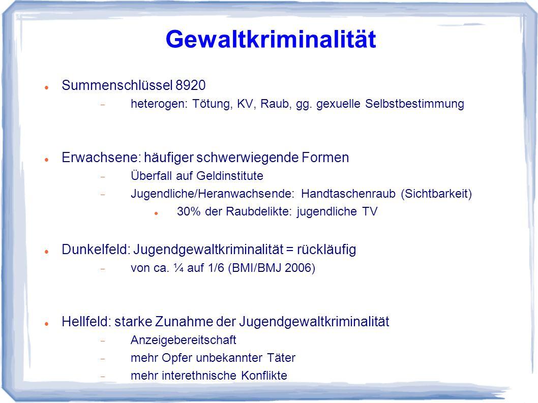 Summenschlüssel 8920 heterogen: Tötung, KV, Raub, gg.