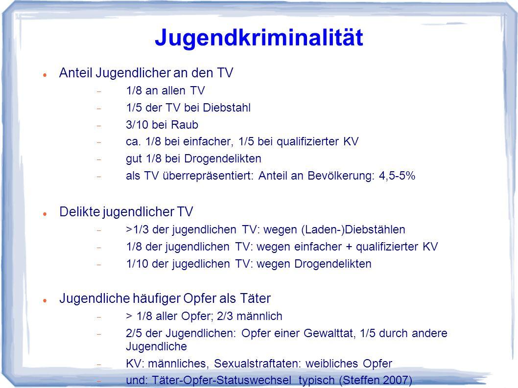 Jugendkriminalität Anteil Jugendlicher an den TV 1/8 an allen TV 1/5 der TV bei Diebstahl 3/10 bei Raub ca.