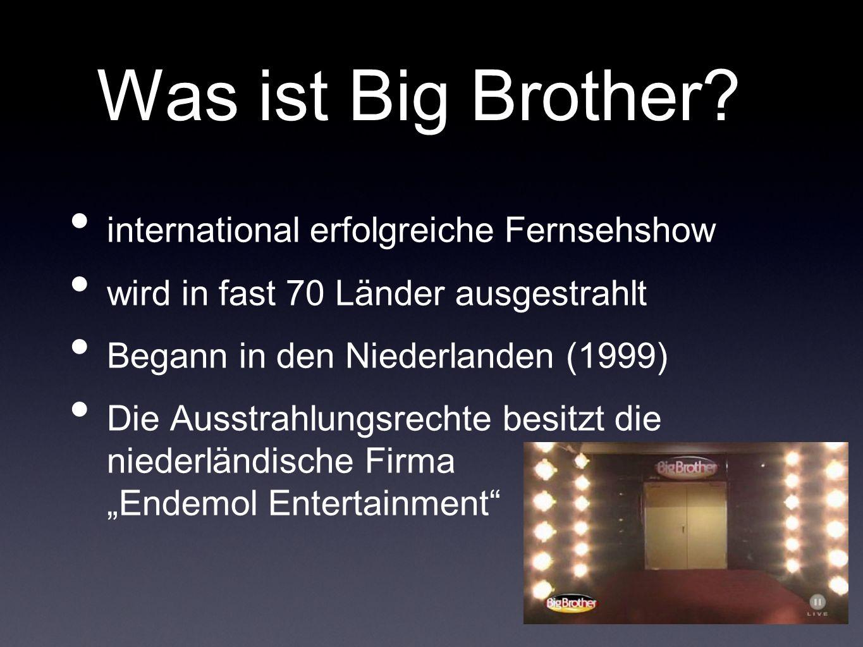 Was ist Big Brother? international erfolgreiche Fernsehshow wird in fast 70 Länder ausgestrahlt Begann in den Niederlanden (1999) Die Ausstrahlungsrec