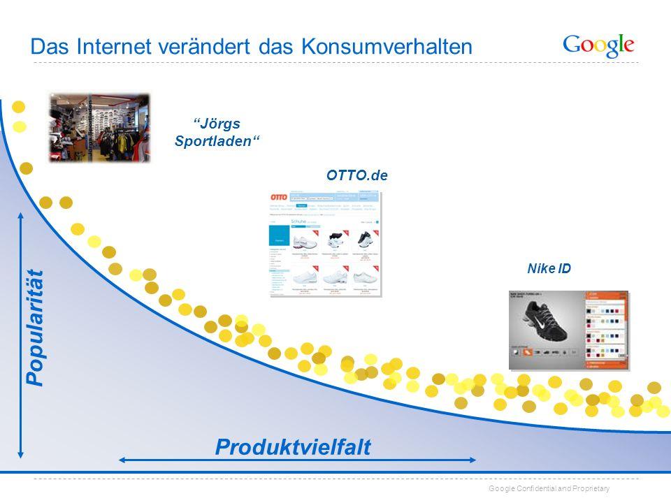 Google Confidential and Proprietary Jörgs Sportladen OTTO.de Nike ID Popularität Produktvielfalt Das Internet verändert das Konsumverhalten