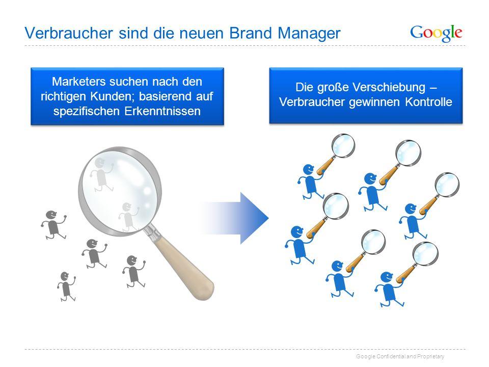 Google Confidential and Proprietary Die große Verschiebung – Verbraucher gewinnen Kontrolle Verbraucher sind die neuen Brand Manager Marketers suchen nach den richtigen Kunden; basierend auf spezifischen Erkenntnissen