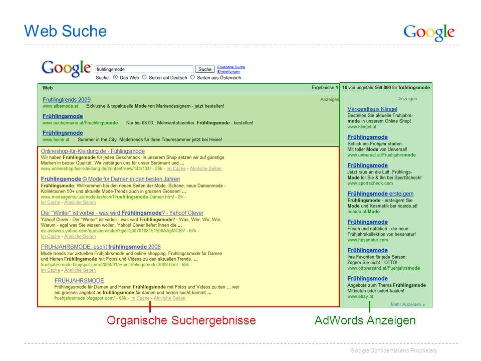 Google Confidential and Proprietary Organische SuchergebnisseAdWords Anzeigen Web Suche