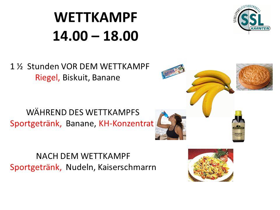 WETTKAMPF 14.00 – 18.00 1 ½ Stunden VOR DEM WETTKAMPF Riegel, Biskuit, Banane WÄHREND DES WETTKAMPFS Sportgetränk, Banane, KH-Konzentrat NACH DEM WETT