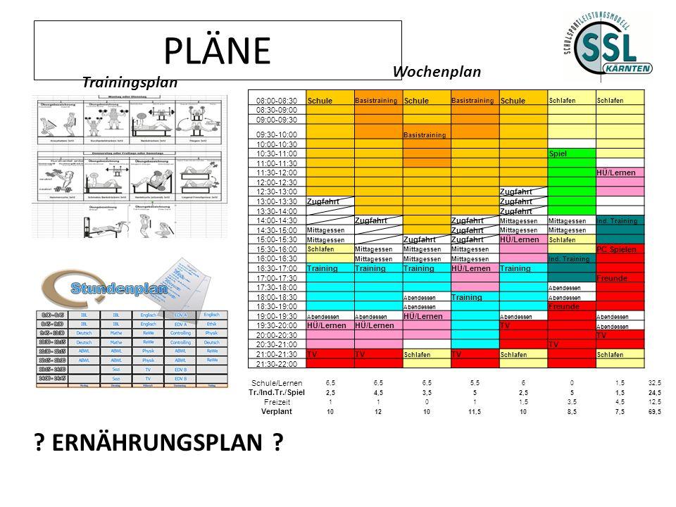 PLÄNE 08:00-08:30Schule Basistraining Schule Basistraining Schule Schlafen 08:30-09:00 09:00-09:30 09:30-10:00 Basistraining 10:00-10:30 10:30-11:00 S