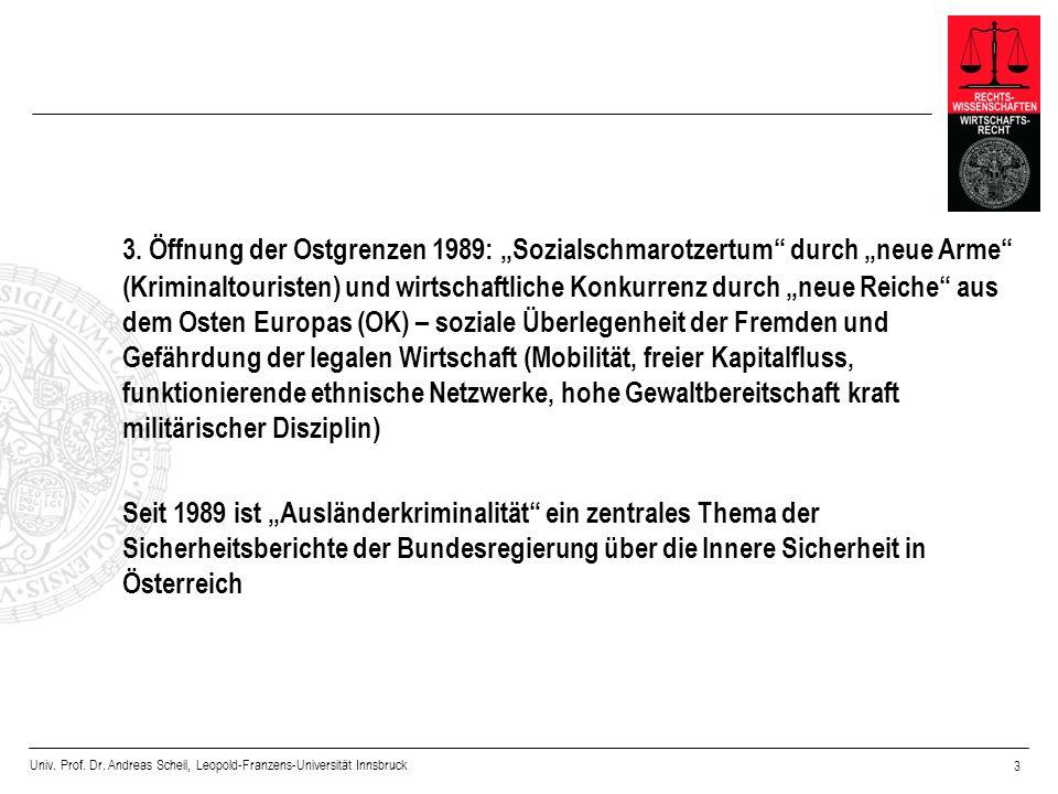 Univ. Prof. Dr. Andreas Scheil, Leopold-Franzens-Universität Innsbruck 3 3. Öffnung der Ostgrenzen 1989: Sozialschmarotzertum durch neue Arme (Krimina
