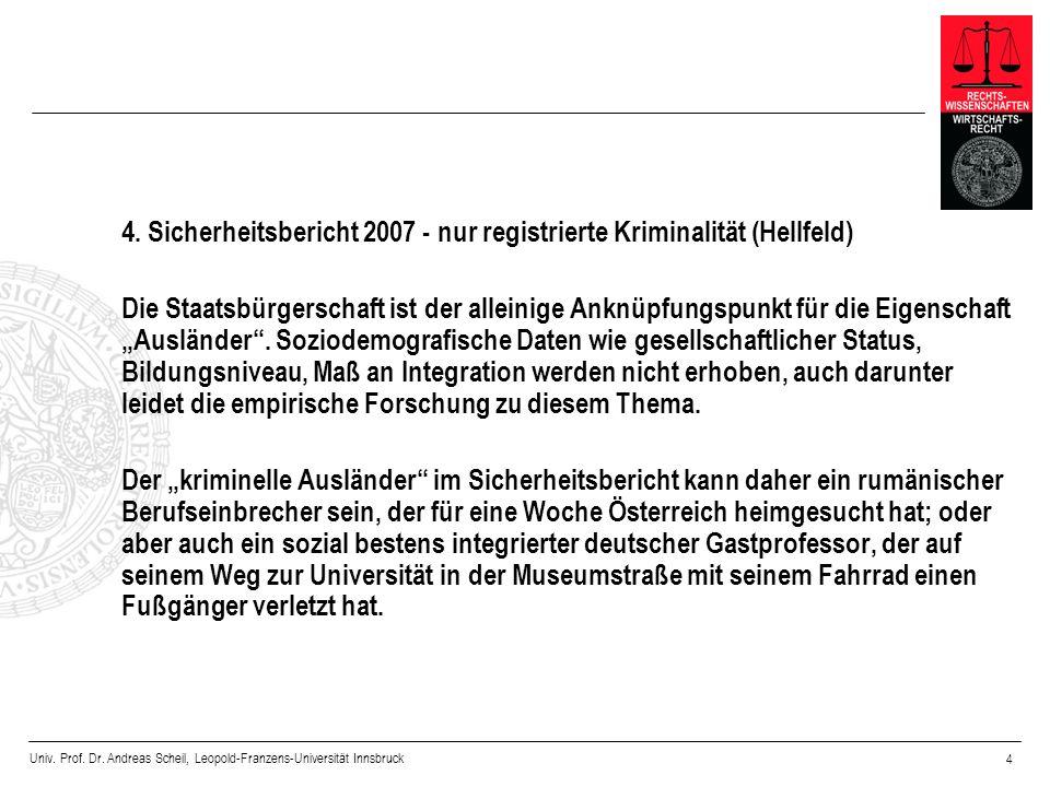 Univ. Prof. Dr. Andreas Scheil, Leopold-Franzens-Universität Innsbruck 4 4. Sicherheitsbericht 2007 - nur registrierte Kriminalität (Hellfeld) Die Sta