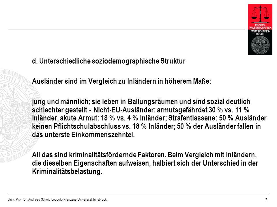 Univ. Prof. Dr. Andreas Scheil, Leopold-Franzens-Universität Innsbruck 7 d. Unterschiedliche soziodemographische Struktur Ausländer sind im Vergleich