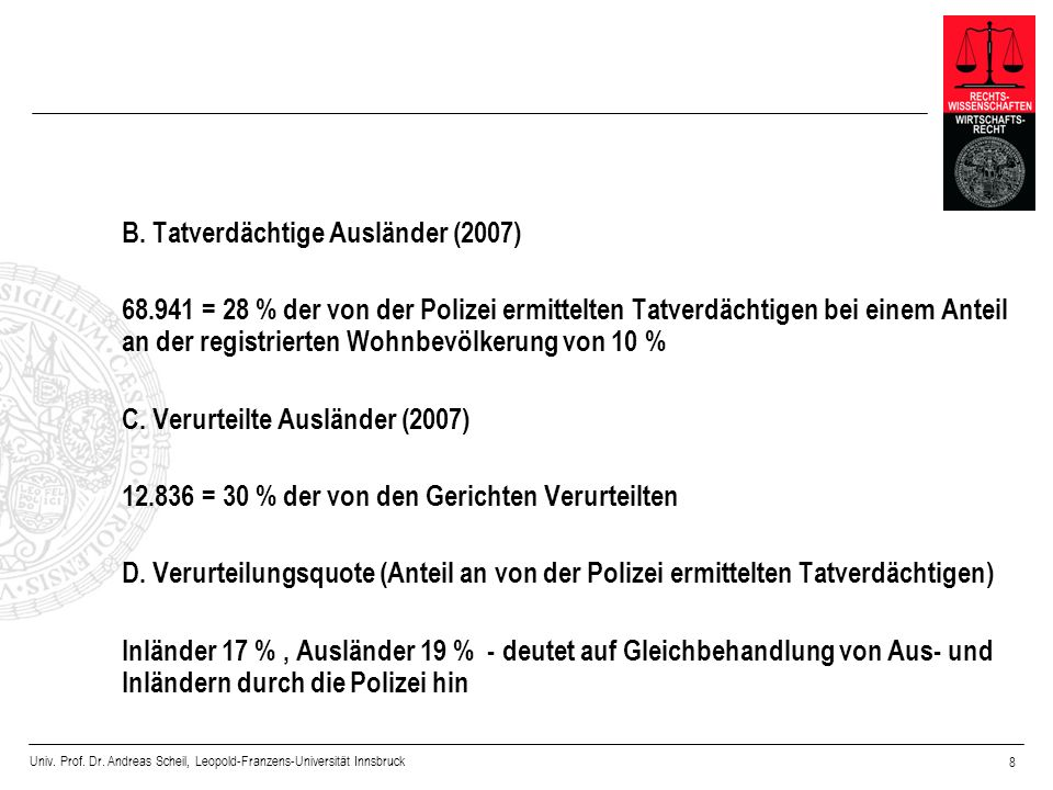 Univ. Prof. Dr. Andreas Scheil, Leopold-Franzens-Universität Innsbruck 8 B. Tatverdächtige Ausländer (2007) 68.941 = 28 % der von der Polizei ermittel