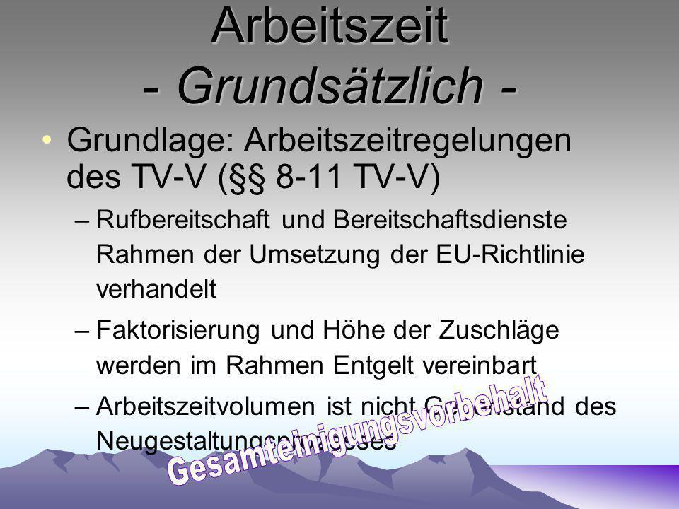 Arbeitszeit - Grundsätzlich - Grundlage: Arbeitszeitregelungen des TV-V (§§ 8-11 TV-V) –Rufbereitschaft und Bereitschaftsdienste Rahmen der Umsetzung