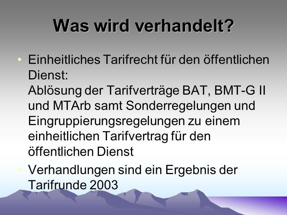 Was wird verhandelt? Einheitliches Tarifrecht für den öffentlichen Dienst: Ablösung der Tarifverträge BAT, BMT-G II und MTArb samt Sonderregelungen un