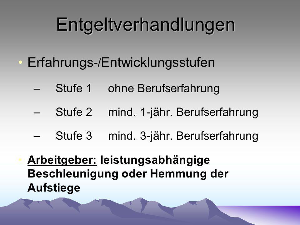 Entgeltverhandlungen Erfahrungs- / Entwicklungsstufen –Stufe 1ohne Berufserfahrung –Stufe 2mind.