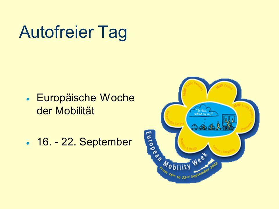 22. September 2002 Teilnahme der Städte europäischer Länder Hauptziel: Hinweis auf Konsequenzen des Autoverkehrs Alternative: öffentlicher, Rad- und F