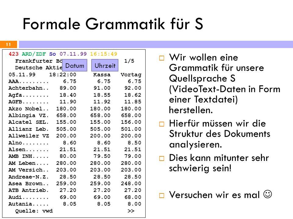 Formale Grammatik für S 11 423 ARD/ZDF So 07.11.99 16:15:49 Frankfurter Börse 1/5 Deutsche Aktien 05.11.99 18:22:00 Kassa Vortag AAA......... 6.75 6.7