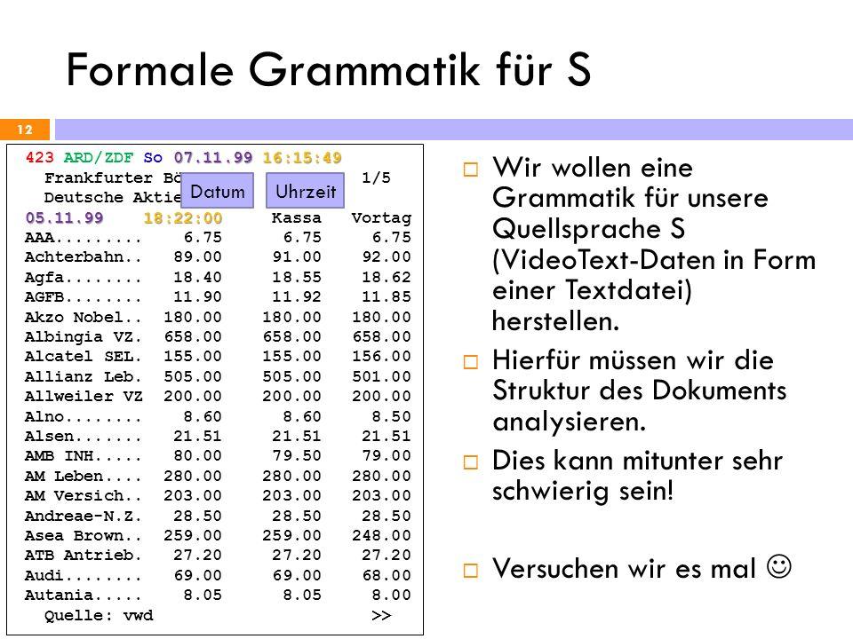 Formale Grammatik für S 12 07.11.99 16:15:49 423 ARD/ZDF So 07.11.99 16:15:49 Frankfurter Börse 1/5 Deutsche Aktien 05.11.99 18:22:00 05.11.99 18:22:0