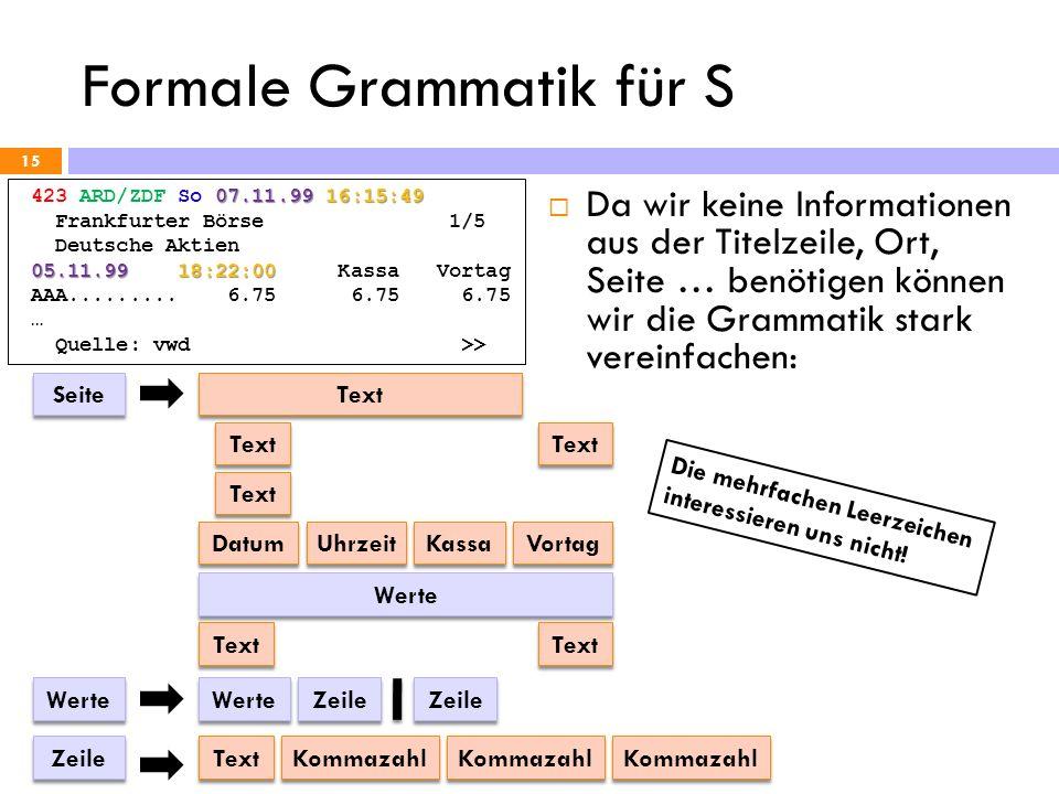 Formale Grammatik für S 15 07.11.99 16:15:49 423 ARD/ZDF So 07.11.99 16:15:49 Frankfurter Börse 1/5 Deutsche Aktien 05.11.99 18:22:00 05.11.99 18:22:0