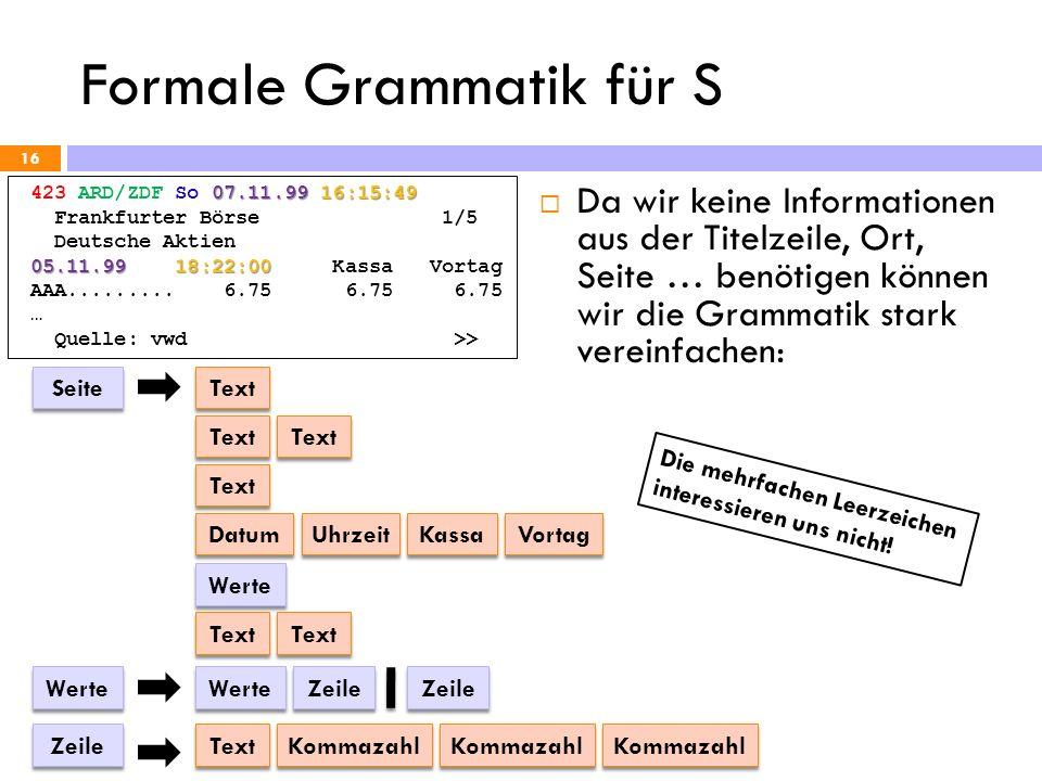 Formale Grammatik für S 16 07.11.99 16:15:49 423 ARD/ZDF So 07.11.99 16:15:49 Frankfurter Börse 1/5 Deutsche Aktien 05.11.99 18:22:00 05.11.99 18:22:0