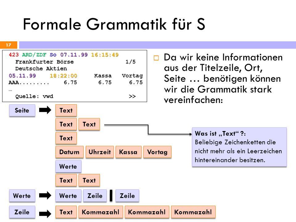 Formale Grammatik für S 17 07.11.99 16:15:49 423 ARD/ZDF So 07.11.99 16:15:49 Frankfurter Börse 1/5 Deutsche Aktien 05.11.99 18:22:00 05.11.99 18:22:0