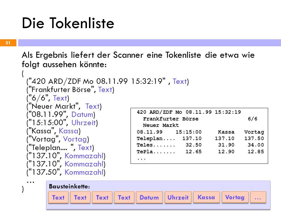 Die Tokenliste 21 Als Ergebnis liefert der Scanner eine Tokenliste die etwa wie folgt aussehen könnte: ( (
