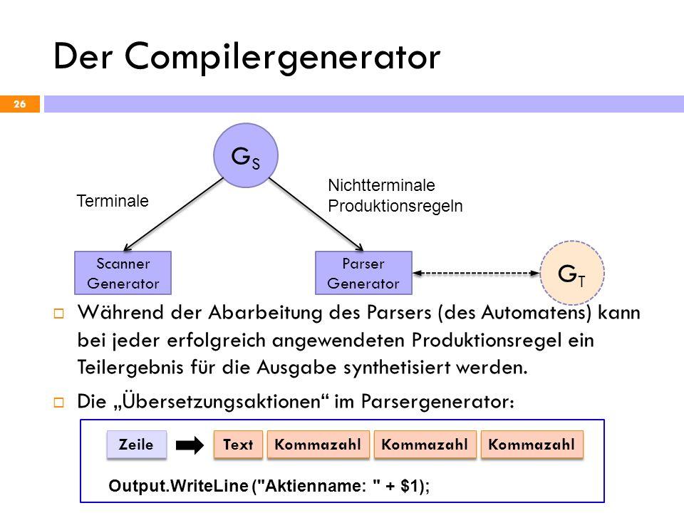 Der Compilergenerator Während der Abarbeitung des Parsers (des Automatens) kann bei jeder erfolgreich angewendeten Produktionsregel ein Teilergebnis f