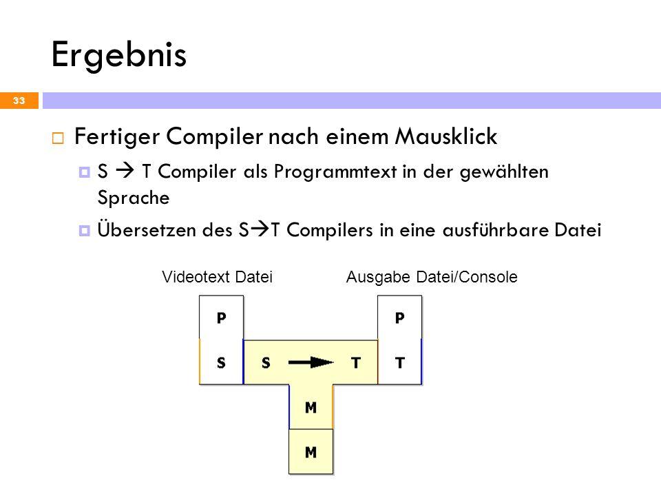 Ergebnis Fertiger Compiler nach einem Mausklick S T Compiler als Programmtext in der gewählten Sprache Übersetzen des S T Compilers in eine ausführbar