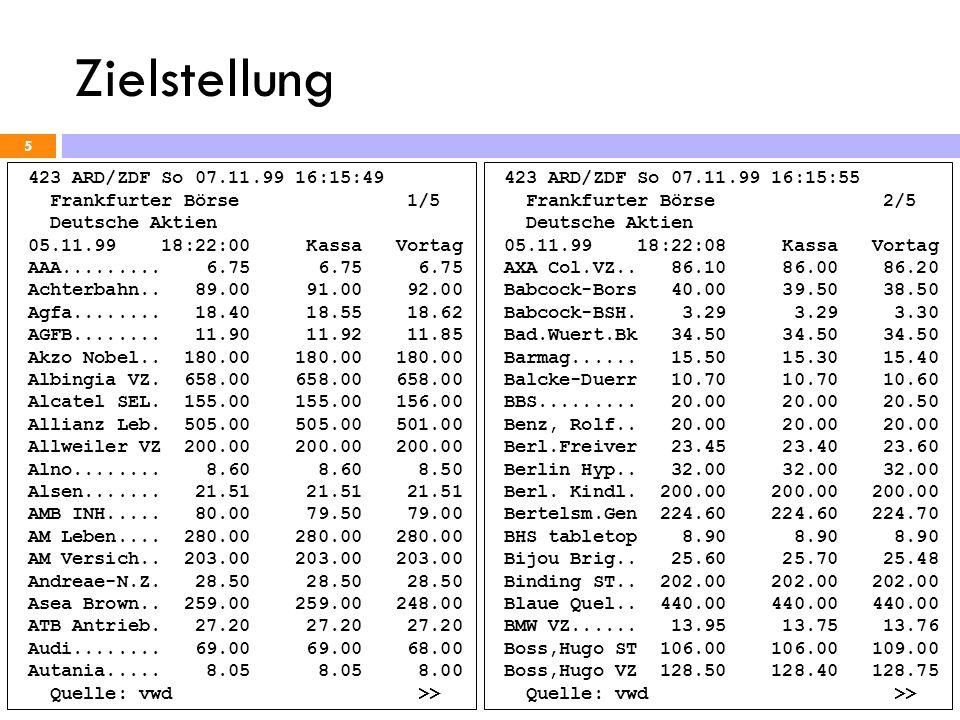 Zielstellung 5 423 ARD/ZDF So 07.11.99 16:15:49 Frankfurter Börse 1/5 Deutsche Aktien 05.11.99 18:22:00 Kassa Vortag AAA......... 6.75 6.75 6.75 Achte