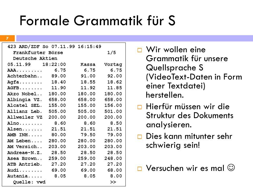 Entwicklung eines Compilers 18 Wir haben jetzt eine Grammatik G S für unsere Quellsprache S (VT-Daten) Nun soll ein Compiler erstellt werden da dies recht aufwendig ist, soll das doch bitte der Rechner selbst tun Wir müssen aber beschreiben wie unsere Sprachen S und T nun genau aussehen und wie die Übersetzung erfolgen soll.
