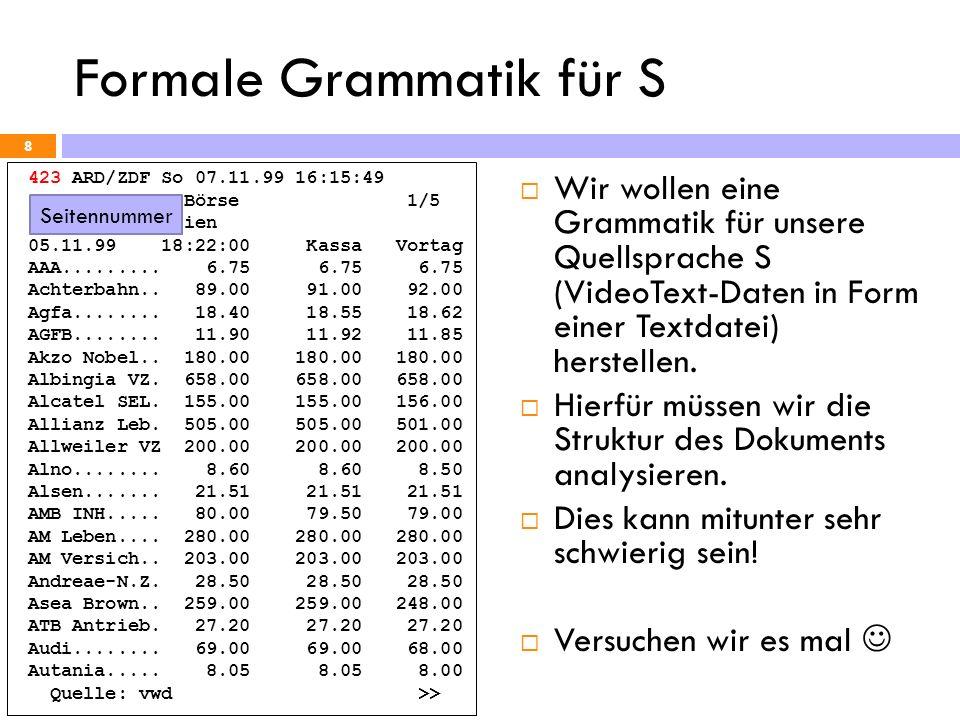 Formale Grammatik für S 9 423 ARD/ZDF So 07.11.99 16:15:49 Frankfurter Börse 1/5 Deutsche Aktien 05.11.99 18:22:00 Kassa Vortag AAA.........