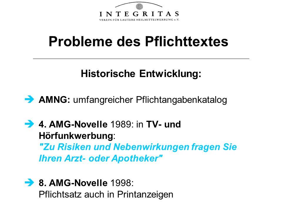 Probleme des Pflichttextes Historische Entwicklung: AMNG: umfangreicher Pflichtangabenkatalog 4. AMG-Novelle 1989: in TV- und Hörfunkwerbung: