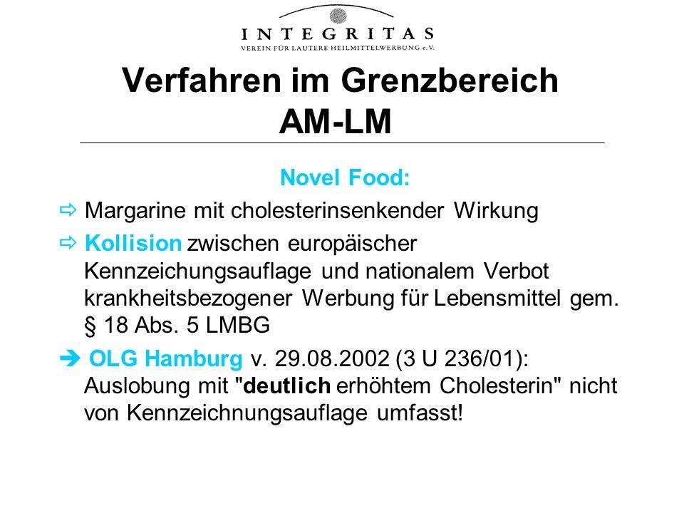 Verfahren im Grenzbereich AM-LM Novel Food: Margarine mit cholesterinsenkender Wirkung Kollision zwischen europäischer Kennzeichungsauflage und nation