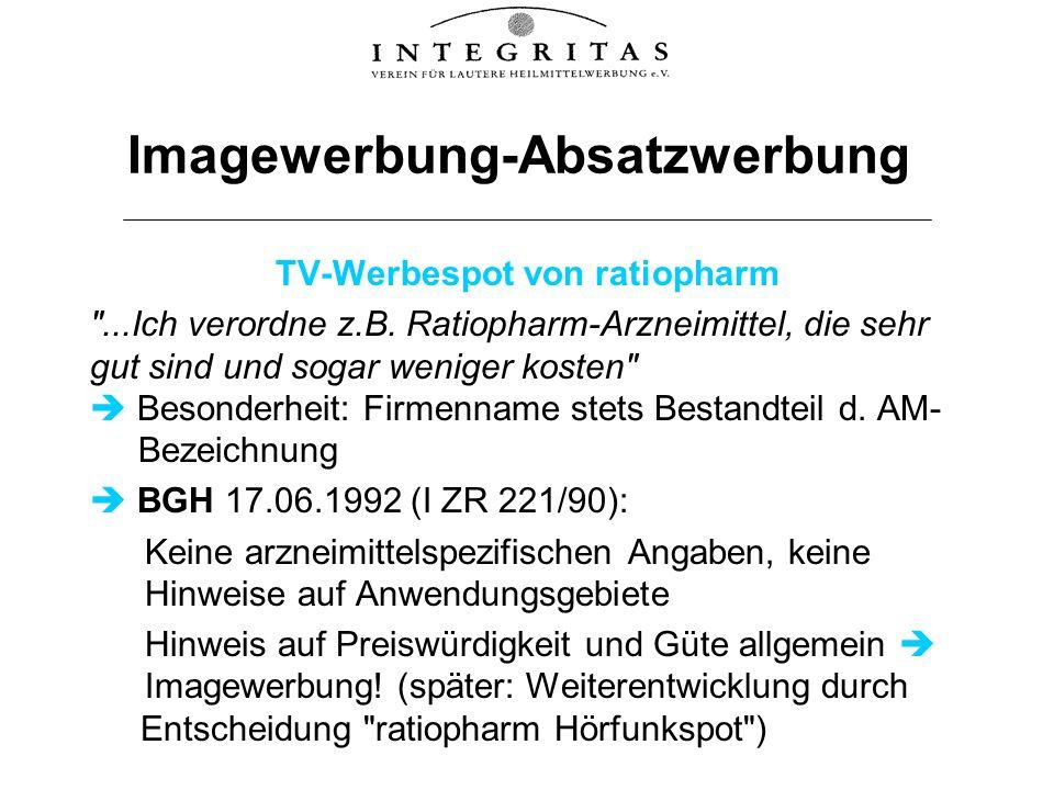 Imagewerbung-Absatzwerbung TV-Werbespot von ratiopharm