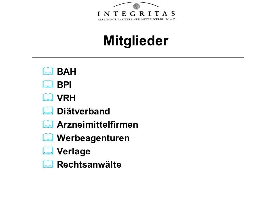 Mitglieder BAH BPI VRH Diätverband Arzneimittelfirmen Werbeagenturen Verlage Rechtsanwälte