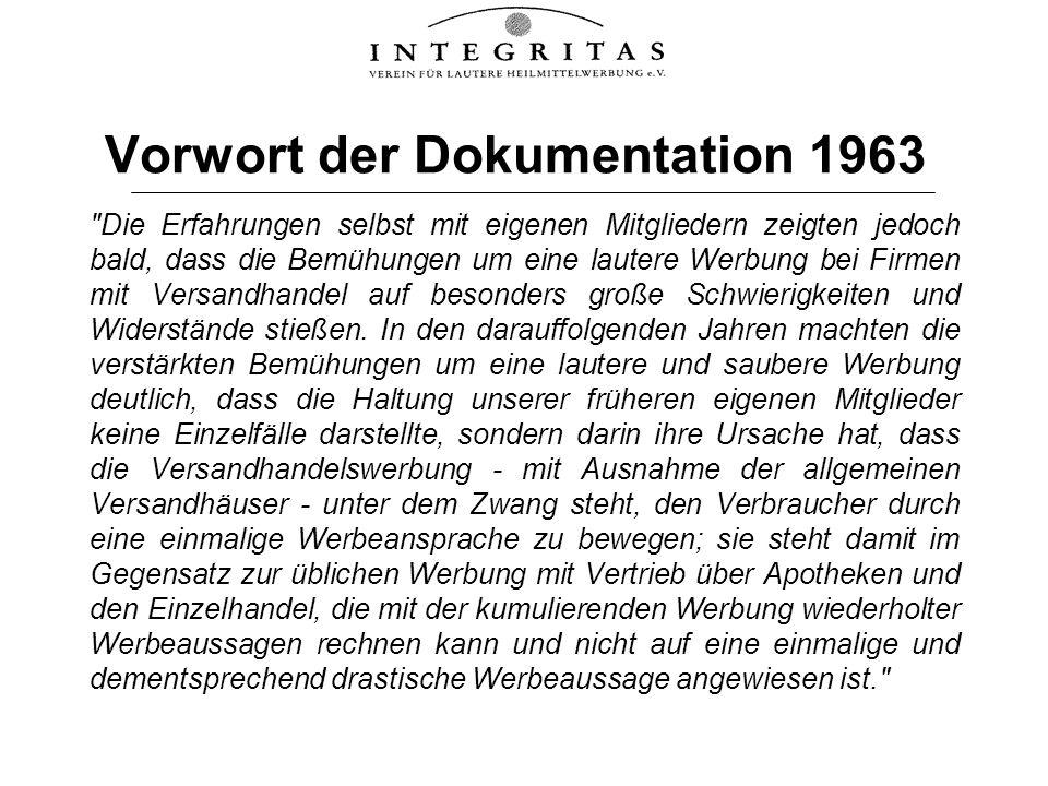 Vorwort der Dokumentation 1963