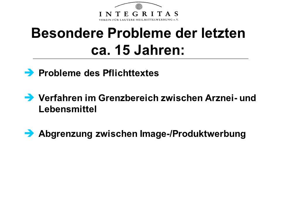 Besondere Probleme der letzten ca. 15 Jahren: Probleme des Pflichttextes Verfahren im Grenzbereich zwischen Arznei- und Lebensmittel Abgrenzung zwisch