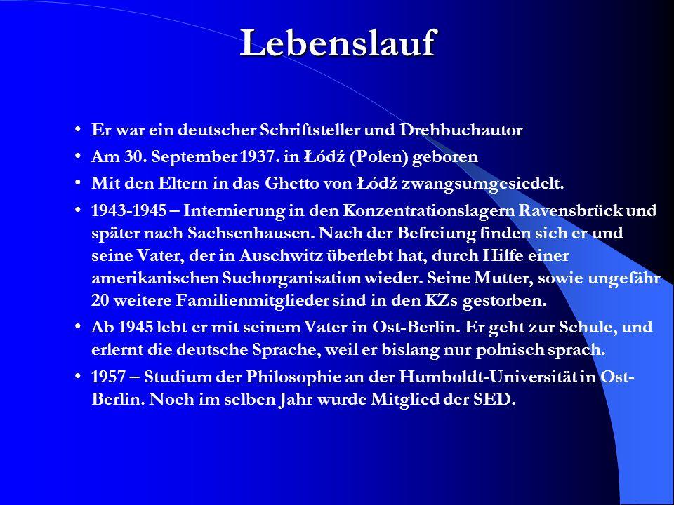 Bronsteins Kinder (1986) –Ein Leben in der DDR von 1973 bis 1974.