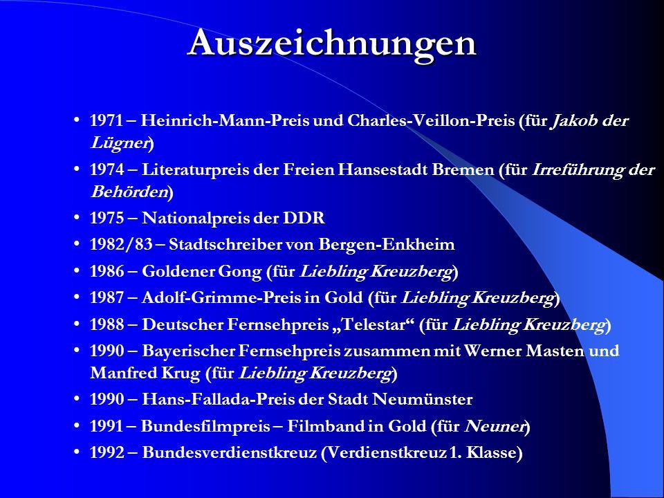 Jurek Becker zum Thema Judentum Meine Eltern waren Juden.