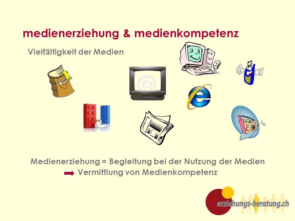 Vielf ä ltigkeit der Medien medienerziehung & medienkompetenz Medienerziehung = Begleitung bei der Nutzung der Medien Vermittlung von Medienkompetenz