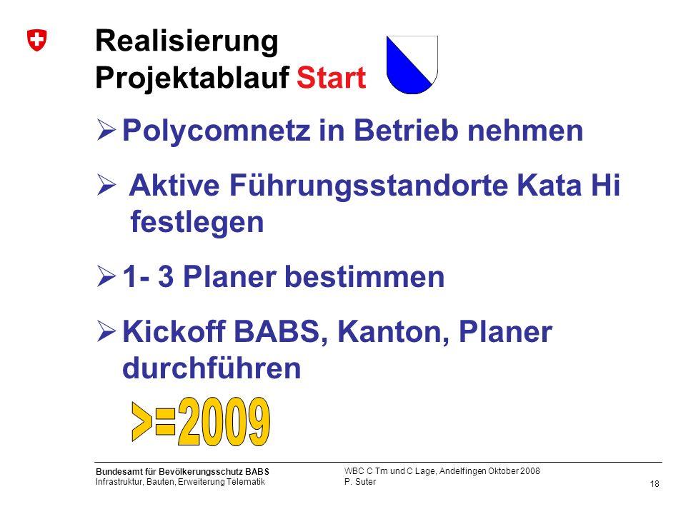 18 Bundesamt für Bevölkerungsschutz BABS Infrastruktur, Bauten, Erweiterung Telematik P. Suter WBC C Tm und C Lage, Andelfingen Oktober 2008 Realisier