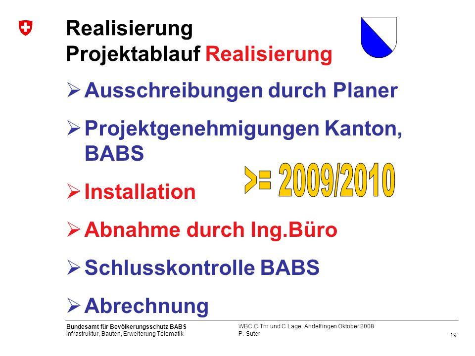 19 Bundesamt für Bevölkerungsschutz BABS Infrastruktur, Bauten, Erweiterung Telematik P. Suter WBC C Tm und C Lage, Andelfingen Oktober 2008 Realisier