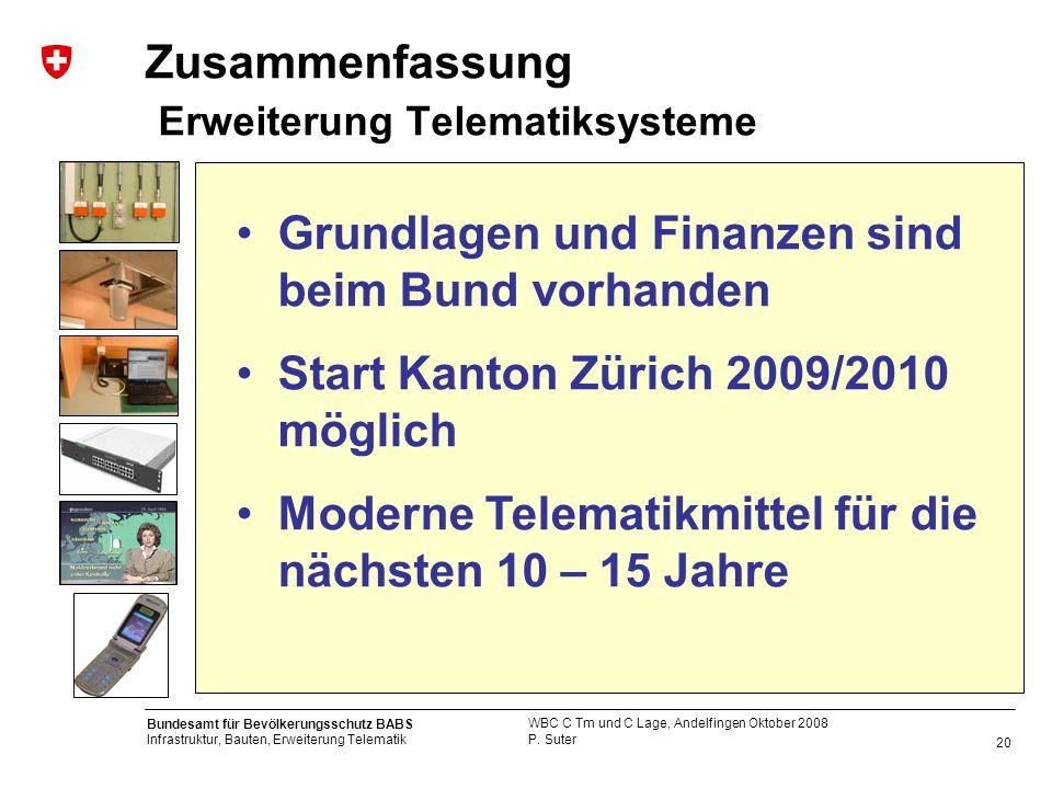 20 Bundesamt für Bevölkerungsschutz BABS Infrastruktur, Bauten, Erweiterung Telematik P. Suter WBC C Tm und C Lage, Andelfingen Oktober 2008 Zusammenf